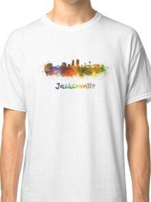 Jacksonville skyline in watercolor Classic T-Shirt