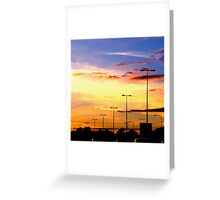 Sunset Lamp Posts Greeting Card