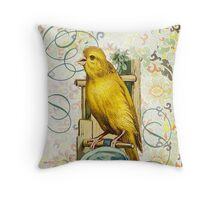 Victorian Canary Nest Yellow Bird Throw Pillow