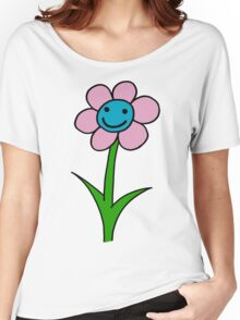 Happy smiling flower - pink and blue Women's Relaxed Fit T-Shirt