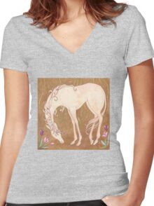 Unicorn and Tulips Women's Fitted V-Neck T-Shirt