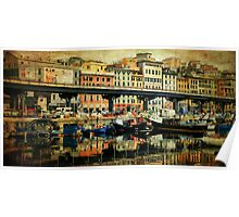 Textured CityScape Genova, reflections on the port Poster