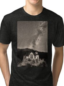 St Malo Miky Way Perseid Meteor Shower BW Sepia Tri-blend T-Shirt