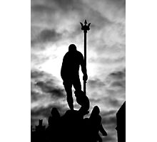 Neptune Statue Silhouette in a cloudy day Photographic Print