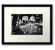 Night Cityscape, street bycicle cars and lights - Italy Framed Print