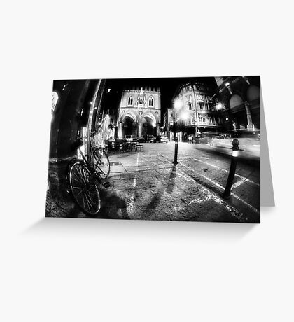 Night Cityscape, street bycicle cars and lights - Italy Greeting Card
