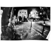 Night Cityscape, street bycicle cars and lights - Italy Poster