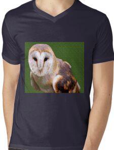 Barn Owl on Green Background Mens V-Neck T-Shirt