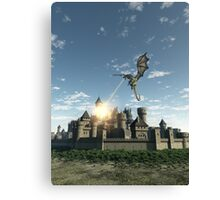 Dragon Attacking a Medieval Walled City Canvas Print
