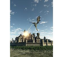Dragon Attacking a Medieval Walled City Photographic Print