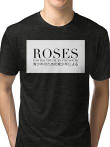 ROSES - OG #1 BOX LOGO (WHITE/BLACK TEXT) Tri-blend T-Shirt