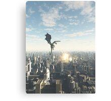 Dragon Attacking a Future City Canvas Print