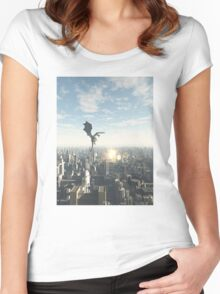 Dragon Attacking a Future City Women's Fitted Scoop T-Shirt