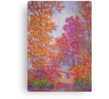 Fall trees on overcast day Canvas Print