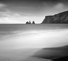 Distant seastacks from Vik - Iceland by Kathy White
