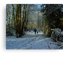 Woman & Dog in a Snow  Scene Canvas Print