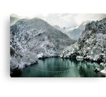 Winter mountain Landscape green water white snow Canvas Print