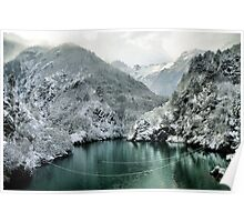 Winter mountain Landscape green water white snow Poster