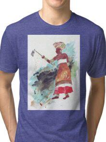 Xhosa Woman hoeing - Ethnic series Tri-blend T-Shirt