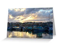 Sunset at Marsaxlokk Greeting Card