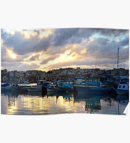 Sunset at Marsaxlokk Poster