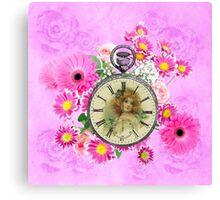 Vintage Girl Clock Watch Pink Floral Canvas Print