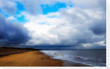 View along Dunwich Beach. by Karen  Betts