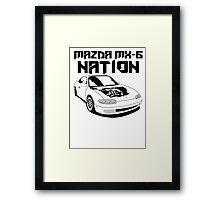 Mazda MX-6 Nation (3/4 View,Top Font) Framed Print