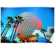 Spaceship Earth at Dusk Poster