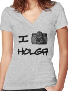 I Love Holga Women's Fitted V-Neck T-Shirt