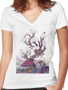 Journeying Spirit (deer) Women's Fitted V-Neck T-Shirt