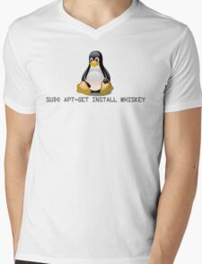 Linux - Get Install Whiskey Mens V-Neck T-Shirt
