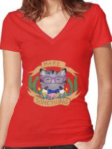 Make Something Women's Fitted V-Neck T-Shirt