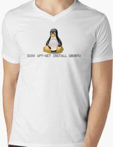 Linux - Get Install Ubuntu Mens V-Neck T-Shirt