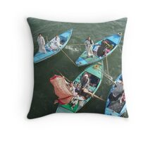 Boat vendors on the Nile Throw Pillow