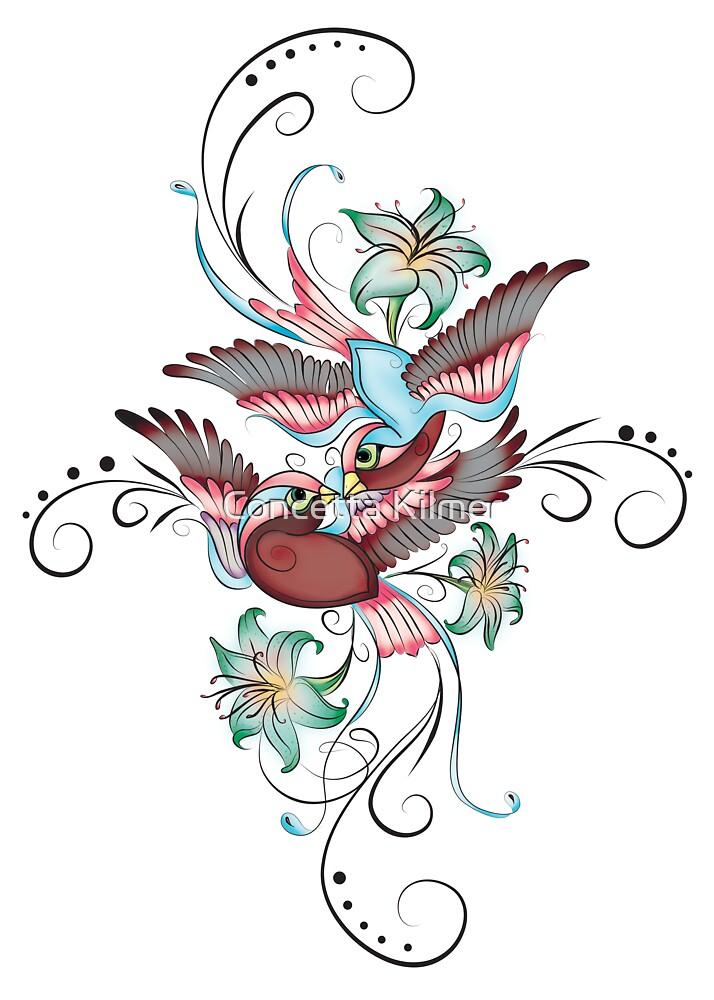 Эскиз тату цветы с птицами