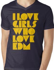 I Love Girls Who Love EDM (Electronic Dance Music) [mustard] Mens V-Neck T-Shirt