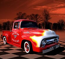 1956 Ford F-100 Pickup with Flames. by TeeMack