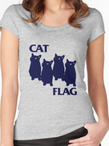 Cat Flag Funny Black Flag Women's Fitted Scoop T-Shirt