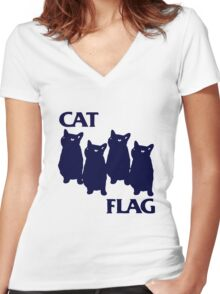 Cat Flag Funny Black Flag Women's Fitted V-Neck T-Shirt