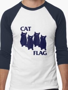 Cat Flag Funny Black Flag Men's Baseball ¾ T-Shirt
