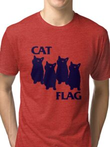 Cat Flag Funny Black Flag Tri-blend T-Shirt