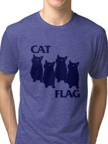 Cat Flag Funny Black Flag Tri-blend T-Shirt