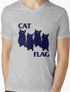 Cat Flag Funny Black Flag Mens V-Neck T-Shirt