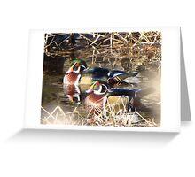 Wood Ducks together Greeting Card