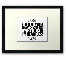 Heartless. Framed Print