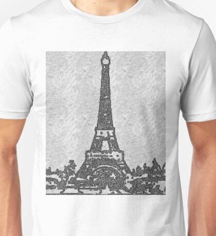 THE EIFFEL TOWER IN BLACK AND WHITE Unisex T-Shirt