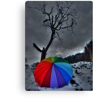 Snow Brolly Canvas Print