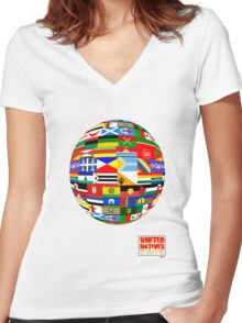 United Natives - Flags of our world Women's Fitted V-Neck T-Shirt