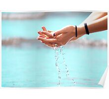 Water through hands Poster